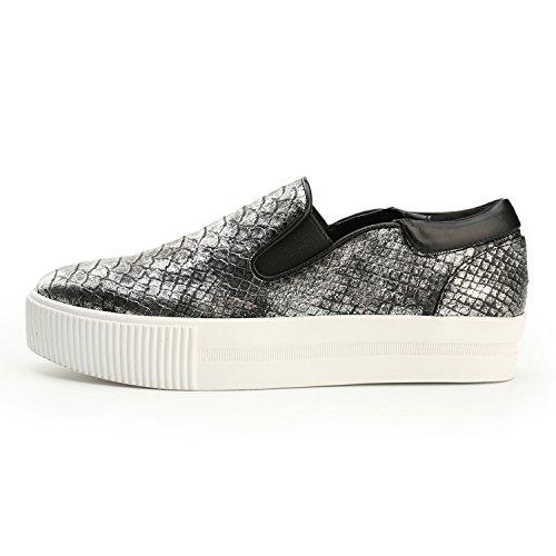 Alexis Leroy Trend Plateau Slipper Schuhe Damen Sneaker Silber