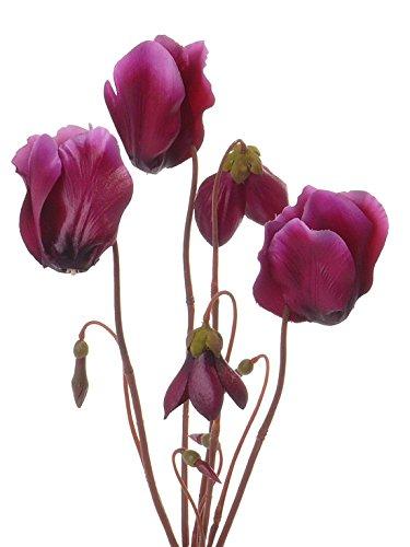 artplants Set 6 x Künstliches Alpenveilchen BIRTE, 5 Blüten, lila, 40 cm – Deko Cyclamen/Kunstblume