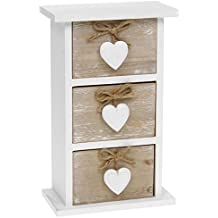 Shabby Chic Provence Heart Three Drawer Mini Chest by Shudehill Gifts