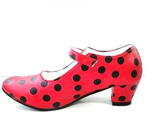 Schuhe Pumps Ballerina-Tanz Flamenco Erwachsene Rot Hat Gepunktet Schwarz, Mehrfarbig - Größe: 38