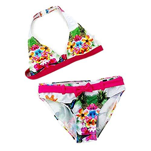 IPBEN Kleinkinder Baby Mädchen Quaste Badekleidung Schwimmanzug Bikini Sets, Gr.-176, Blume Rot