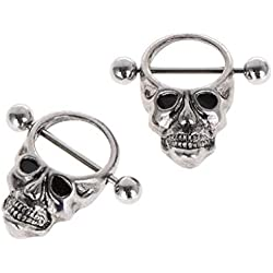 ZOOMY, 2 piezas pezón acero inoxidable cráneo