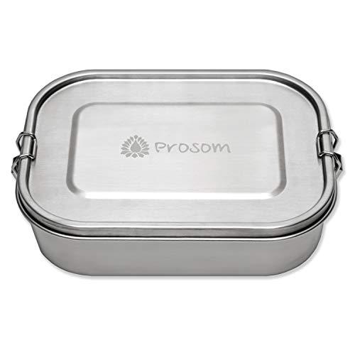 Prosom Edelstahl Lunchbox für Kinder und Erwachsene | große Brotdose 1400 ml | Vesperdose für Kinder | Bento Box auslaufsicher & dicht Brotbox zum Wandern, Reisen, Schule, Kindergarten (Aluminium-lunch-boxen Für Kinder)