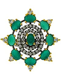 Anuradha Art Green Colour Styled With Studded American Diamonds Stone Finger Ring For Women/Girls