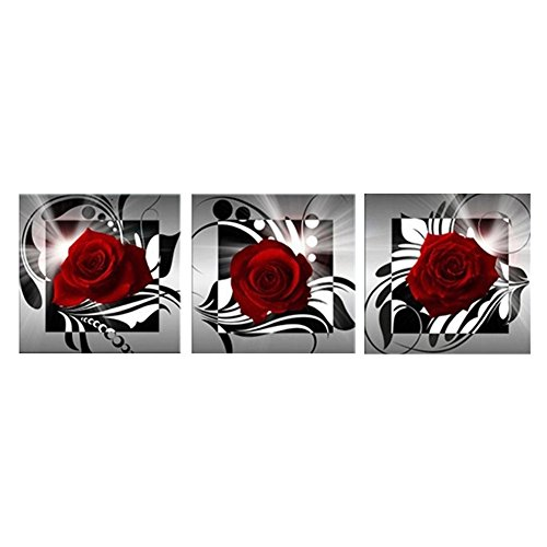bdrsjdsb 3 Teile/Satz Rote Rose Blume Moderne Wandkunst Malerei Wohnzimmer Wohnkultur 40 * 40 cm