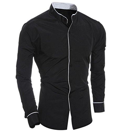 OverDose Poplin Hemd für Männer, langarm Slim Fit Business Freizeit Hochzeit Bügelleicht Shirt Bluse Tops Schwarz