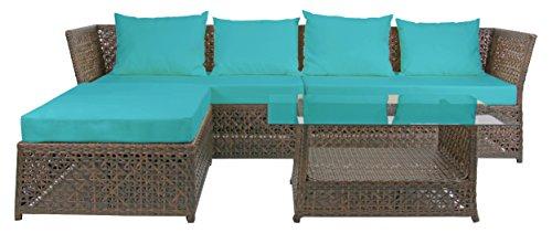 Rattan4Life 4-teilig Florenz Deluxe Polyrattan Gartenmöbel Set, Sofa / Lounge / Gartengarnitur /...
