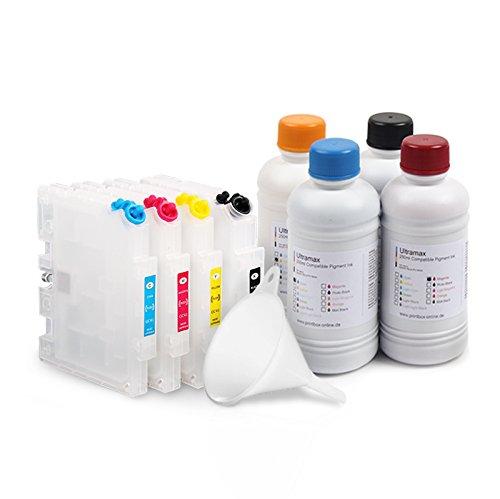 Starterset GC-41 kompatibel für Ricoh SG 2100N 3110 7100 inkl. Pigment Tinte, Patronen, Trichter - Schwarz Pigment Tinte Refill