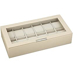 WOLF 309853 Stackable Watch Tray 12 Piece with Lid, Cream