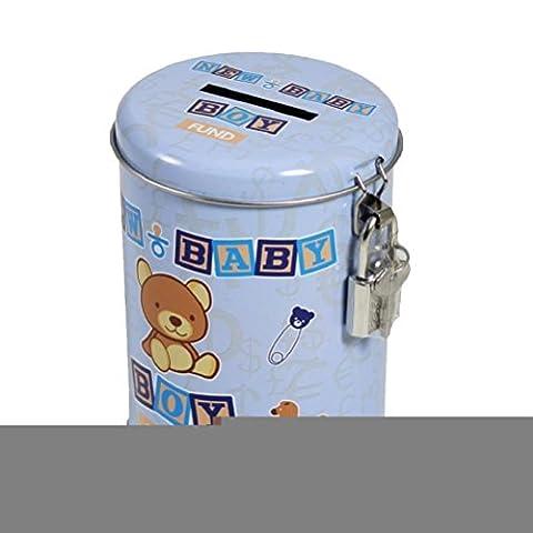 Fonds d'économie d'argent boîte métallique verrouillable–Bébé Douche–Nouveau bébé garçon