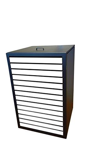 Müllbehälterschränke, Modell Magnat H für eine 120 Liter Tonne, Türverlattung in Holz Weiß - 2