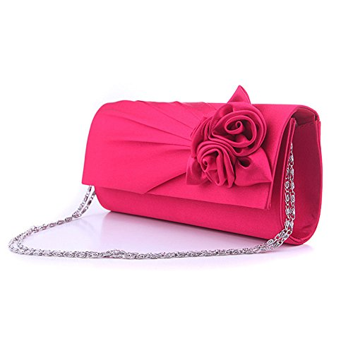 Junsi Women's Evening Handbag borsetta Clutch Bag with Shoulder Strap Satin Rose red