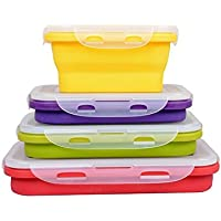 (350ML , 540ML , 800ML , 1200ML) Elegant, Fashionable & Stackable Food Storage Containers, Silicone Collapsible Lunch Bento Box, Freezer to Oven Safe, Set of 4 by HomeTop
