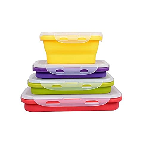 4 Pack (350ML , 540ML , 800ML , 1200ML) Elegant, Fashionable & Stackable Food Storage Containers, Silicone Collapsible Lunch Bento Box, Freezer to Oven Safe, Set of 4