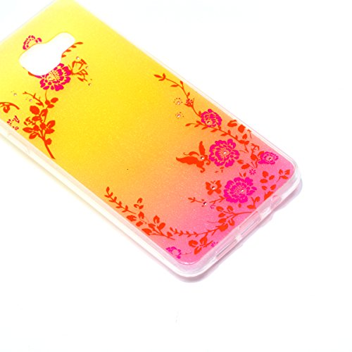 Coque Samsung Galaxy A3 2016 Glitter, Samsung Galaxy A3 2016 Coque Brillante, SainCat Ultra Slim TPU Silicone Case pour Samsung Galaxy A3 2016, Glitter Bling Diamante Strass Anti-Scratch Soft Gel 3D H Secret Garden