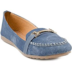 Indrataps Womens Classy Elegant and Lightweight Blue Denim Slip On Ballerinas (38)