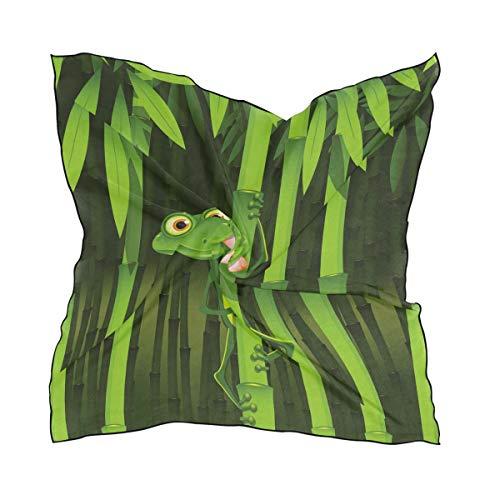 QMIN Seide quadratischer Schal Sommer Frosch Tier Dschungel Bambus Mode Kerchief Leichtes Haarband Tidy Halstuch für Frauen 60x60cm