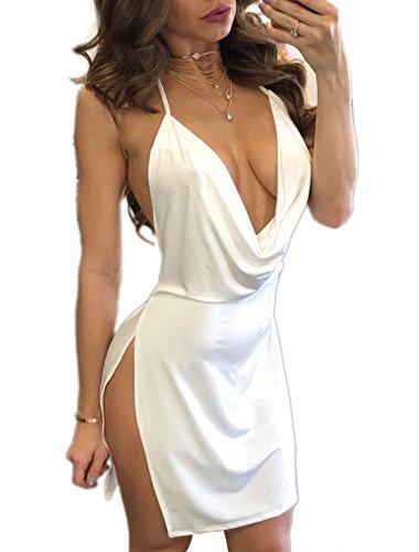 Estate Vestiti Donna a Tunica Sexy V Collo Senza Schienale Mini Abiti Chiffon Moda Corto Abito da Discoteca Partito Vestito con Spacco Laterale da
