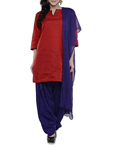Womens Cottage Women's Purple Cotton Jacquard Semi Patiala Salwar & Chiffon Dupatta Stole Set with Lace