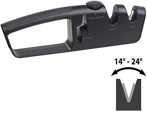 Rosenstein & Söhne Scherenschleifer: Premium-Messer- & Scherenschärfer, 2-stufig, Schleifwinkel einstellbar (Klingen Schärfer)