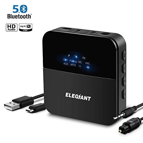 ELEGIANT Bluetooth 5.0 Transmitter Empfänger, Wireless Mini Sender Receiver aptX Low Latency HD Drahtlos Audio Adapter 24h 20m Reichweite für Hause TV Home Stereo Kopfhörer HiFi Sound System