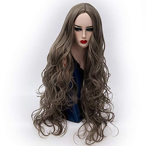 Lange Lockige Abendkleid-Perücken Der Frauen Blondes Graues Cosplay Kostüm-Damen-Perücken-Partei-Freie Perücken-Kappe,Gray