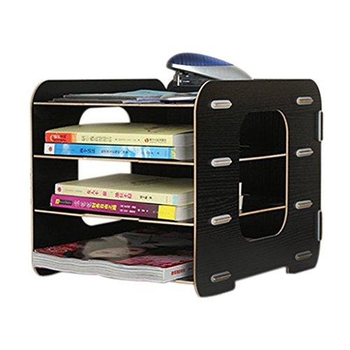 Schreibtischorganizer Holz Ablageboxen Briefablage mit 4 Einlegebörden Büro Ablagesystem Dokumentenablage Papierablage für Briefe und Unterlage