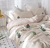 Rosseae Bettwäsche Set, Luxus Natural Tencel Silk 4Pcs Bettwäsche Set 1 Bettbezug 1 Blatt 2 Kissenbezug Nachtwäsche Junges Paar Schlafzimmer, 5-6.6ft (Farbe : -, Größe : Small)