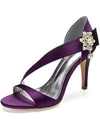 671feabb478 SHAOSHOE Satin Tissu Femmes Pompes d été Chaussures de Mariage Talon  Aiguille Peep Toe Boucle