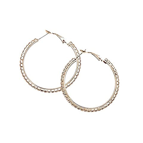Claire's Girl's Crystal Lined Rose-gold Tone Hoop Earrings in Clear