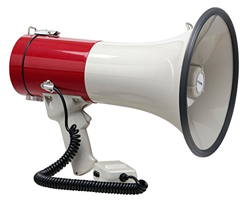 McGrey MP-500HS Megaphon (Sprachrohr, 25 Watt RMS/80 Watt MAX, bis zu 1000m Reichweite, Handmikrofon, Sirene, batteriebetrieben) weiß/rot