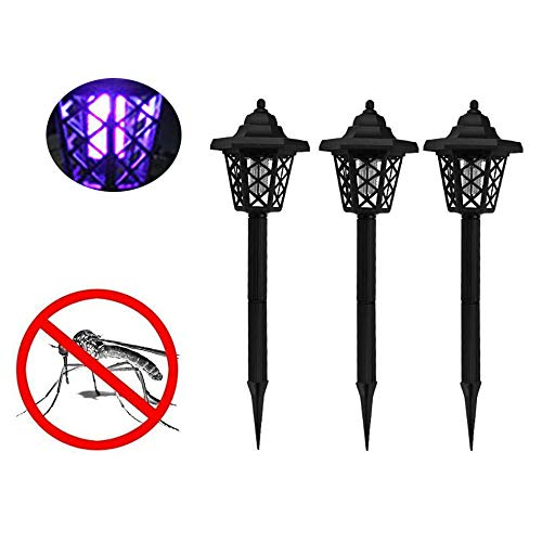Dicomi 3er Outdoor Solar Mückenvernichter UV Insektenvernichter Mückenlampe Gartenlampe IP65 Wasserdicht für Mücken Fliegen Mücken 1,2V(46.5 * 12 cm) Schwarz