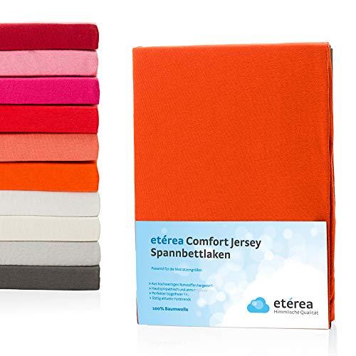 #3 Etérea Kinder Jersey Spannbettlaken, Spannbetttuch, Bettlaken, 60x120 - 70x140 cm, Orange
