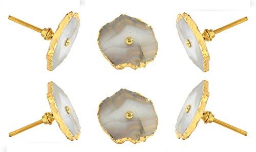 Set von 6Barbarella Achat Knopf mit Messing Hardware Küche Schrank Türknauf dressser Kleiderschrank und Schublade Pull von trinca-ferro (Cabinet Zieht Hardware Messing)