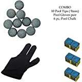 Snooker, Pool Cue Stick Combo, Gloves, 6 Chalk And 10 Pieces Leather Cue Tip (9mm) By Unik