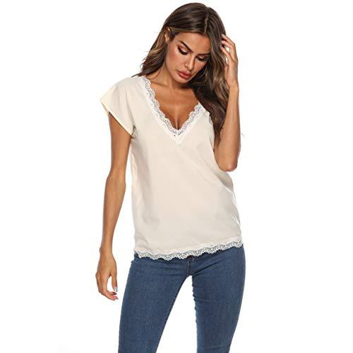 TWIFER Sommer Damen T Shirt Beiläufiges Normallack V Ansatz Spitze Rand Kurzärmliges Hemd Tee Shirt Mit V-Ausschnitt - Corvette Sweat-shirt