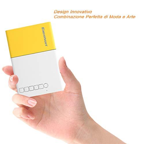 Mini Proiettore, Excelvan Proiettore Portatile 1080PLEDper iPhone/ Android/ DVD/ Laptop/ TV Box,Ottimo Proiettore per far Giocare i Bambini e per Scopi Educativi conTV/AV/USB/HDMI(320*240)