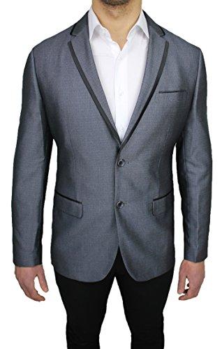 Giacca blazer uomo sartoriale grigio gessata elegante cerimonia (Nero Giacca Gessata)