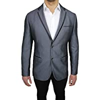 Giacca blazer uomo sartoriale grigio gessata elegante (Nero Giacca Gessata)