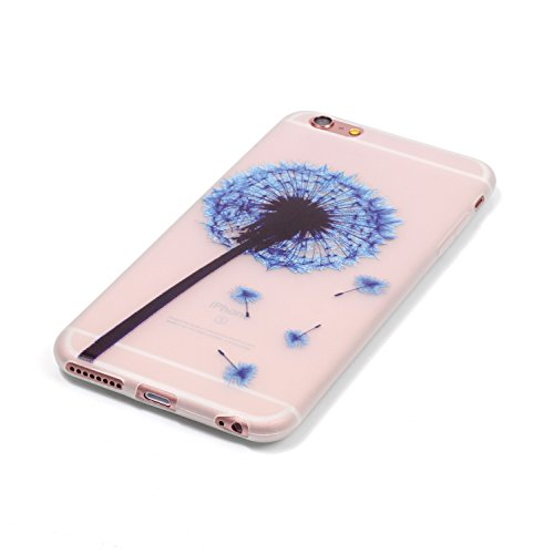 CaseHome iPhone 6 Plus/6S Plus 5.5'' Luminous Hülle (Mit Frie Displayschutzfolie) Leuchtende Silikone Rückhülle Für iPhone 6 6s Plus 5.5 Zoll Zoll Silikon Etui Handy Hülle Weiche Transparente Luminous Blauer Löwenzahn