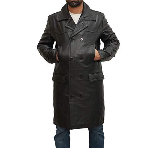 A to Z Leather Mens Dr Who Zweireihiger U-Boot im Militärstil inspirierte den Deutschen Peacoat aus Leder in Zwei Längen (Who Gürtel Dr)