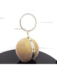kotiger Lady mujeres forma redonda diamante noche embrague bolso hombro bolsa de boda bolso de mano, amarillo