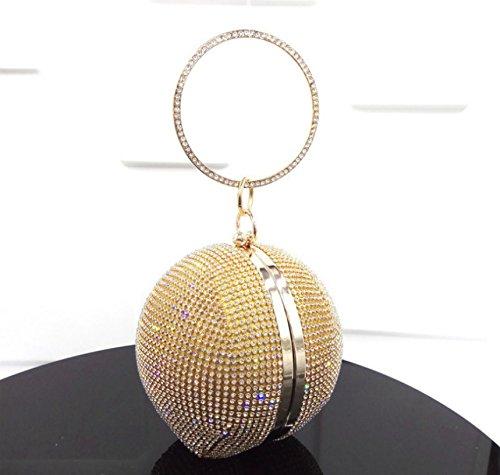 Kotiger Lady donne forma rotonda diamante sera pochette borsetta borsa a tracolla festa di nozze, Yellow Yellow
