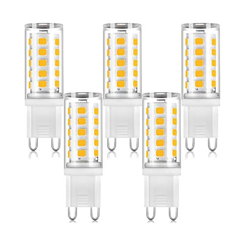 AGOTD 5 Pack 4W G9 LED Lamp, 400 Lumens, 2700k Warm White No Flickering LED Bulbs, Replacement 40W G9 Halogen Bulb, Non Dimmable 360 Degree Angle - 5 Warm White Led-chips