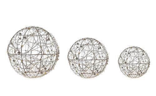 DARO DEKO Lichter-Kugel Set mit LED aus Draht und Perlenkette