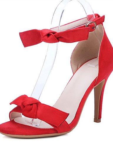 LFNLYX Scarpe Donna-Sandali-Matrimonio / Formale / Casual / Serata e festa-Tacchi-A stiletto-Felpato-Nero / Rosa / Rosso Red