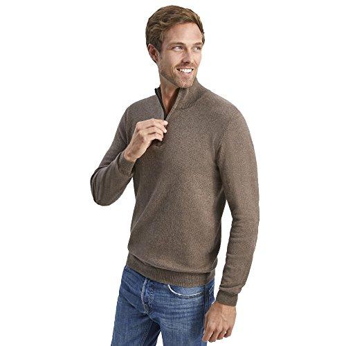 L. bo apparel, cozy collection: maglione da uomo invernale con collo alto e zip, cashmere e cotone, marrone, xl