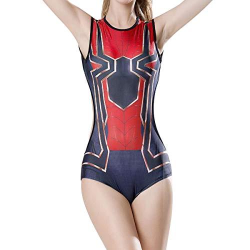 QQWE Iron Spiderman Cosplay Badeanzug für Damen Spiderman Cosplay Swimwear Superhero Printing Swimdress Beachwear,A-L (Swimdress Bügel)