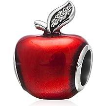 Cuenta de plata de ley 925y esmalte rojo, diseño de manzana de Navidad