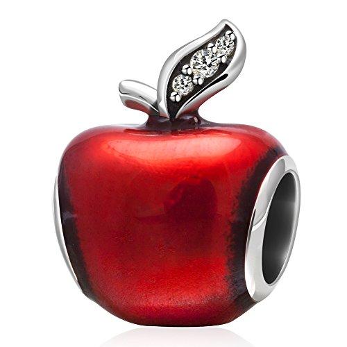 Charm natalizio a forma di mela, in argento sterling 925, con smaltorosso e perline verde chiaro, Argento, colore: A, cod. PY